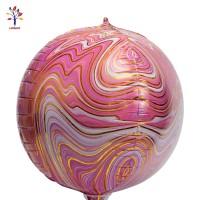Baloane folie 4D roz gold marmorate