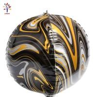 Baloane folie 4D negru marmorate