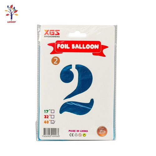 "Baloane folie cifra 2 40"" albastru"