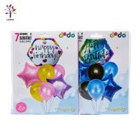 Baloane 7 buc/set folie + latex Happy Birthday