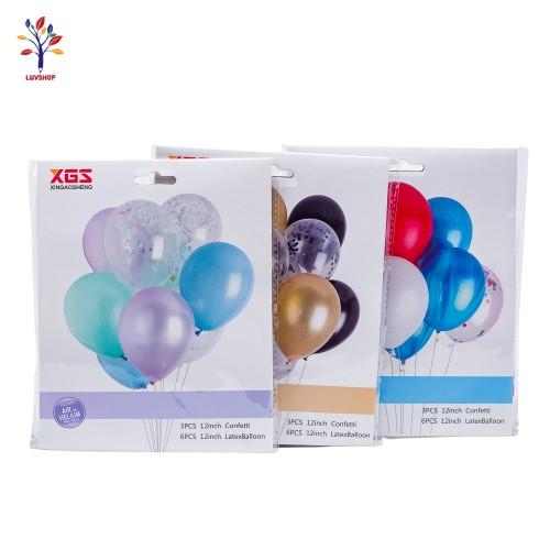 Baloane 9 buc/set latex + confetti