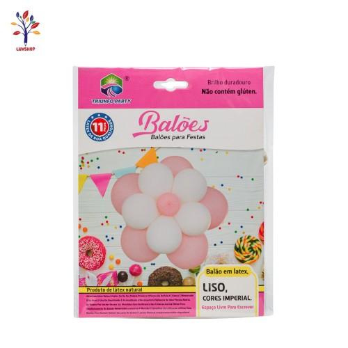Baloane latex 11 buc/set + sablon floare roz/alb
