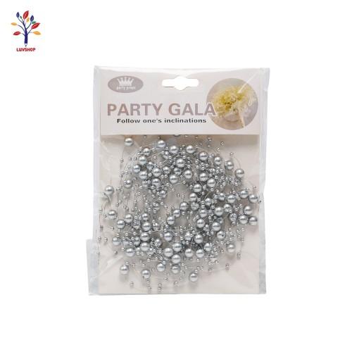 Sirag margele pentru decor  argintiu