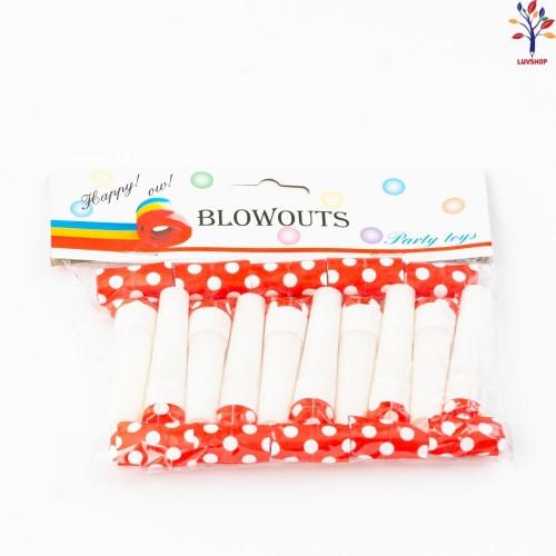 Suflatori petrecere carton+plastic cu buline  10/set